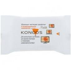 Влажные чистящие салфетки Konoos KSN-15 в мягкой упаковке для ЖК-экранов <15шт>