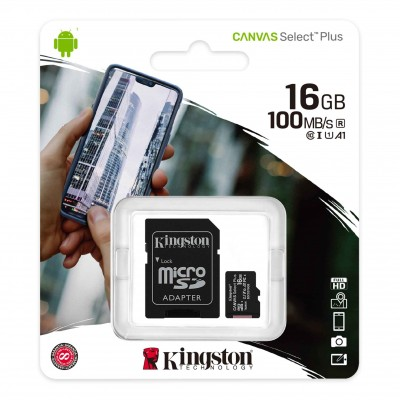 Карта памяти Micro SD 16 GB Kingston Canvas Select Plus SDCS2/16GB, Class 10 UHS-I U1 + SD адаптер